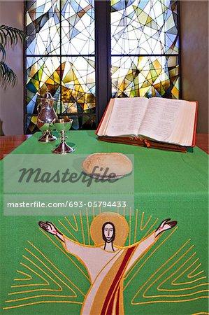 An altar set for Communion