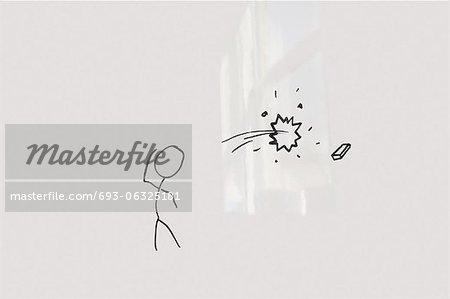 Conceptual image of stick figure breaking glass through eraser