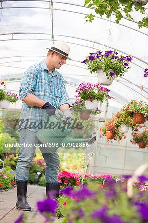 Full-length of man watering flower plants in greenhouse