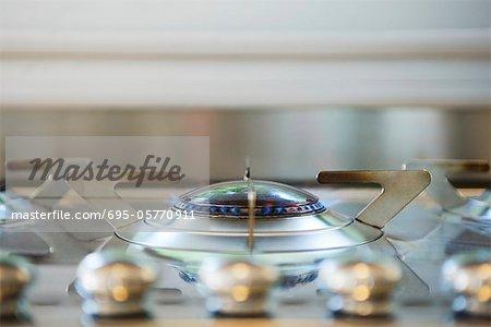 Gas stovetop, close-up
