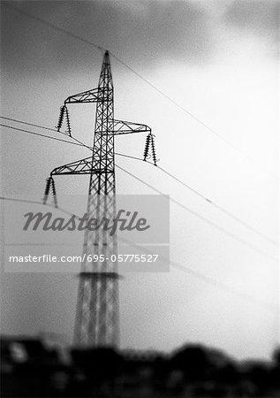 Power line, low angle view, b&w.