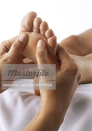 Foot massage, close-up