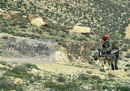 Man riding donkey in arid landscape, Jordan