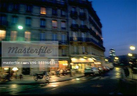 France, Paris, street at night