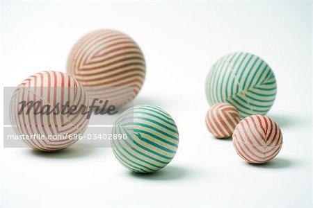 Striped rubber balls, still life