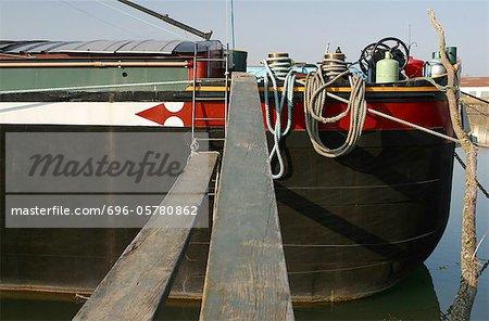 France, Cote-d'Or, Saint-Jean-de-Losne, barge on the river Saone