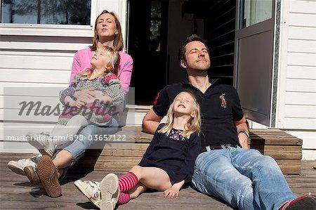 Family enjoying the sun