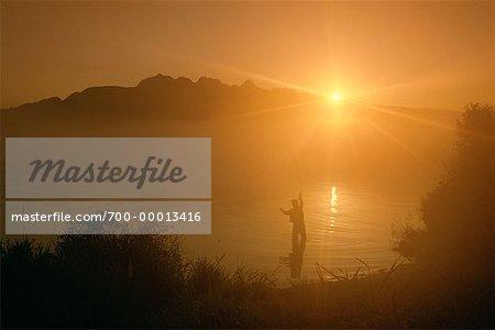 Fly Fishing at Sunset British Columbia, Canada