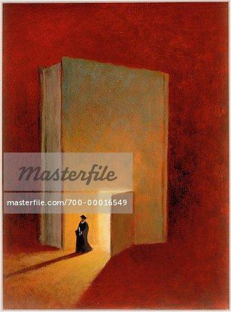 Illustration of Graduate Walking Through Door
