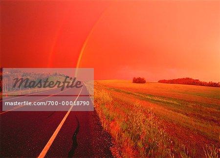 Rainbow Near Rolly View, Alberta, Canada