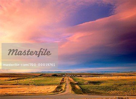 Rural Road at Sunset Alberta, Canada