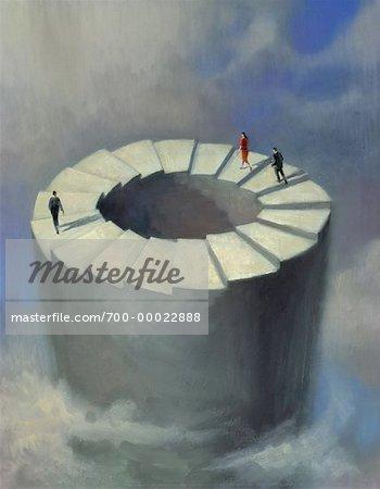 People Walking on Perpetual Staircase in Sky