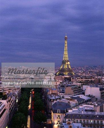 Eiffel Tower and Cityscape at Dusk, Paris, France