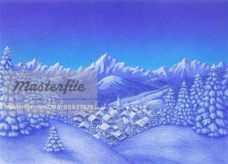 Illustration of Village in Winter