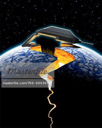 Cellular Telephone Holding Cracked Planet Together