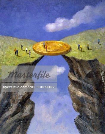 Illustration of Coin Bridging Gap