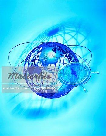 Navigational Compass and Globe North America