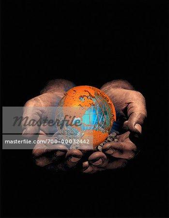 Hands Holding Globe with Binary Code North America