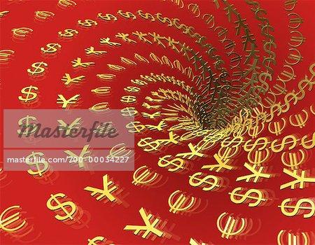 International Currency Symbols In Vortex Stock Photo Masterfile