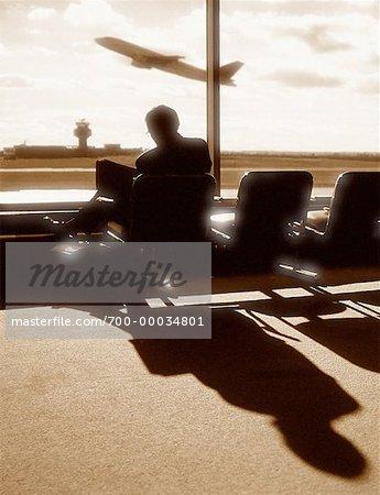 Man Waiting in La Guardia Airport New York, New York, USA