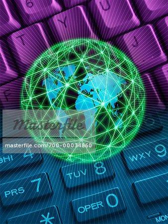 Telephone Keypad, Computer Keyboard and Globe