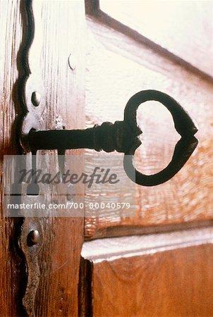 Close-Up of Skeleton Key in Keyhole