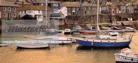 Fishing Boats, English Seacoast Town of Mousehole, Cornwall England