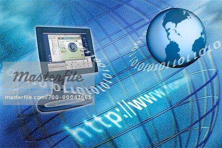 Computer Monitor, Globe, Internet Address and Binary Code