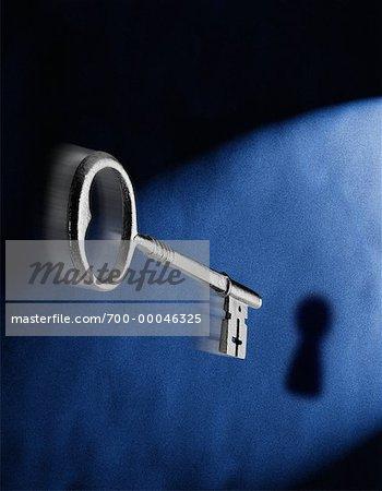 Close-Up of Skeleton Key and Keyhole