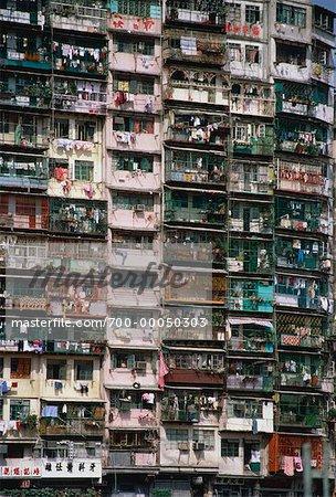Close Up Of Apartment Building Kowloon Hong Kong China Stock Photo