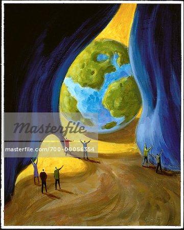 Illustration of People Unveiling Globe
