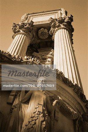 Looking Up at Statue and Columns Palace of Fine Arts San Francisco, California, USA