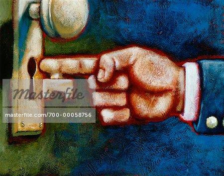 Illustration of Hand with Key Shaped Finger Entering Keyhole