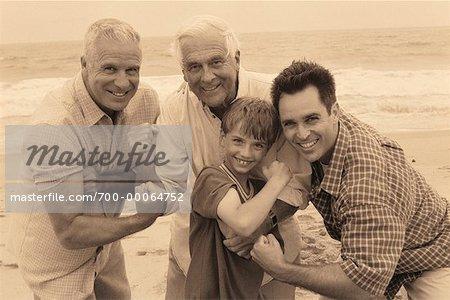 Portrait of Four Generations of Men Outdoors