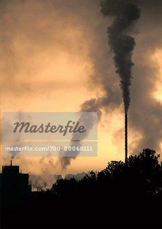 Smokestacks Billowing Smoke at Paper Mill, Rumford Falls, Maine USA