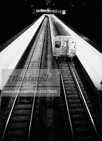 Subway Train on Tracks Toronto, Ontario, Canada
