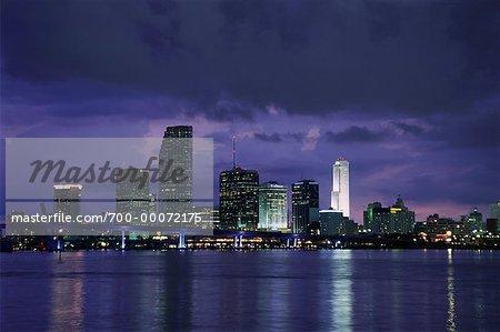 City Skyline at Dusk Miami, Florida, USA