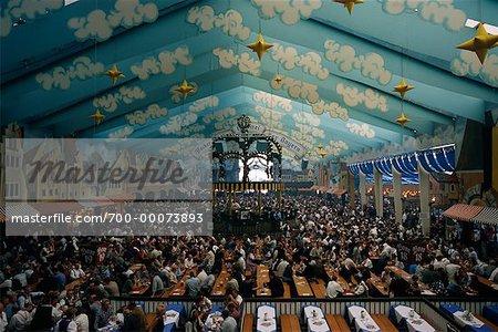 Interior of Oktoberfest Tent Munich, Germany