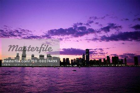 City Skyline and Harbor at Sunset Chicago, Illinois, USA
