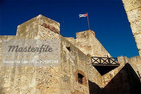 Looking Up at Tower and Flag Castillo de San Pedro Del Morro Santiago Province, Cuba