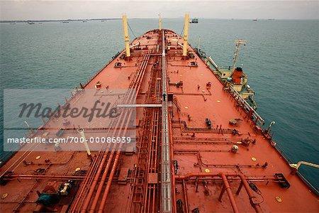Bulk Oil Super Tanker in Singapore Harbor Singapore - Stock Photo