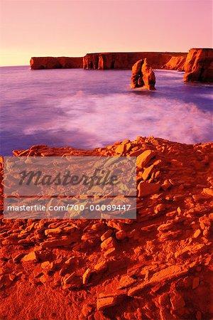 Sandstone Cliffs at La Belle Anse Ile du Cap aux Meules Iles de la Madeleine, Quebec Canada