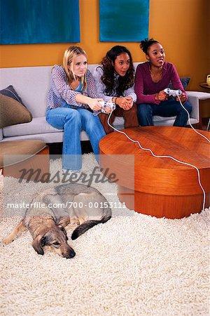 Teenage Girls Playing Video Games