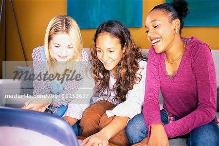 Teenage Girls With Laptop