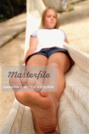Girl In Hammock Stock Photo