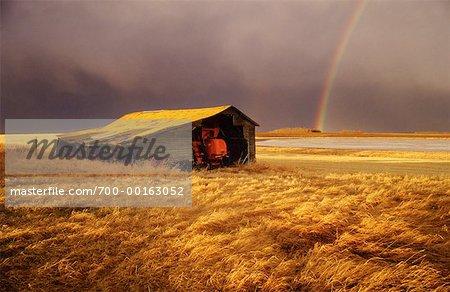 Shack on Prairie with Rainbow