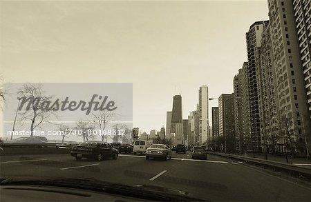 Driving on Lake Shore Drive Chicago, Illinois, USA