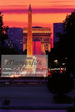 Arc de Triomphe and Obelisque de Luxor Paris, France