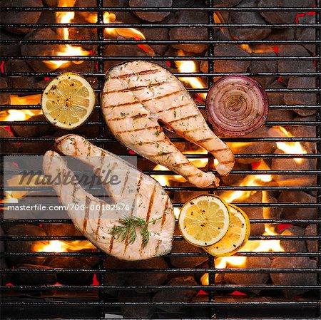 Salmon Steak on Barbeque