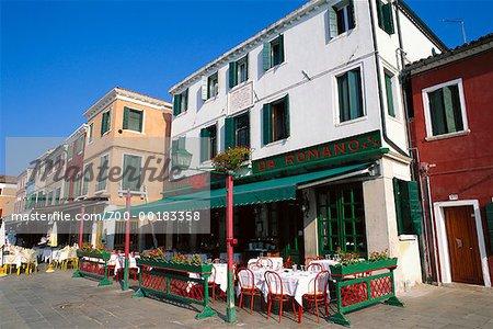 Restaurant Patio on Sidewalk Burano, Italy
